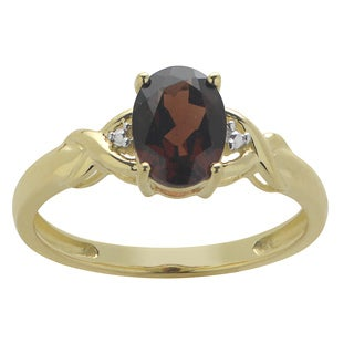 Gems For You 10k Yellow Gold Oval-cut Garnet Ring