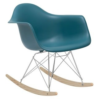 Poly and Bark Teal Rocker Lounge Chair