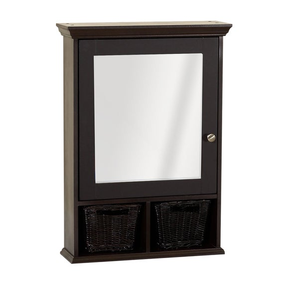 Shop zenith espresso medicine cabinet with 2 wicker baskets free shipping today overstock for Espresso bathroom medicine cabinet