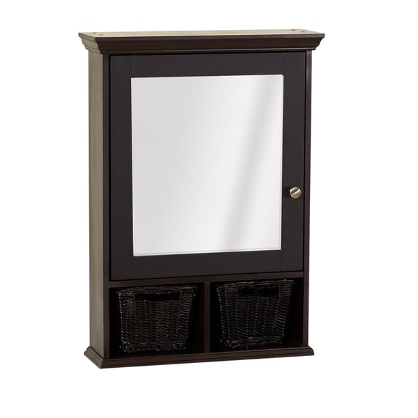 Zenith Bathroom Cabinets: Shop Zenith Espresso Medicine Cabinet With 2 Wicker