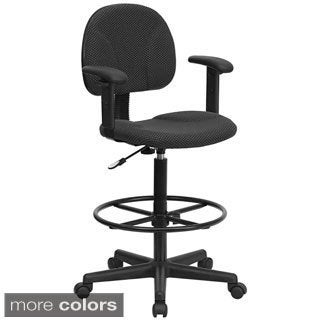 Offex Fabric Adjustable Drafting Stool with Arms