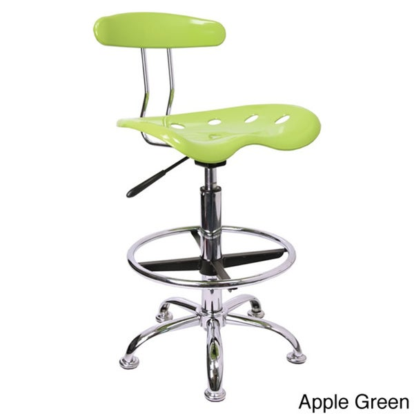 Offex Chrome Drafting Stool With Tractor Seat Free