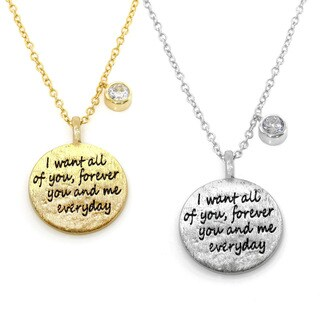 Eternally Haute Brass Cubic Zirconia Inspirational Quote Necklace (2 options available)