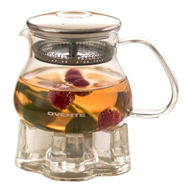 Ovente Food Warmer ~ Ovente fgb t ounce glass tea pot with warmer free