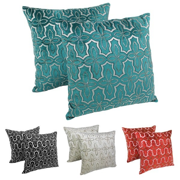 Blazing Needles 20-inch Moroccan Patterned Beaded Velvet Throw Pillows (Set of 2) - Free ...