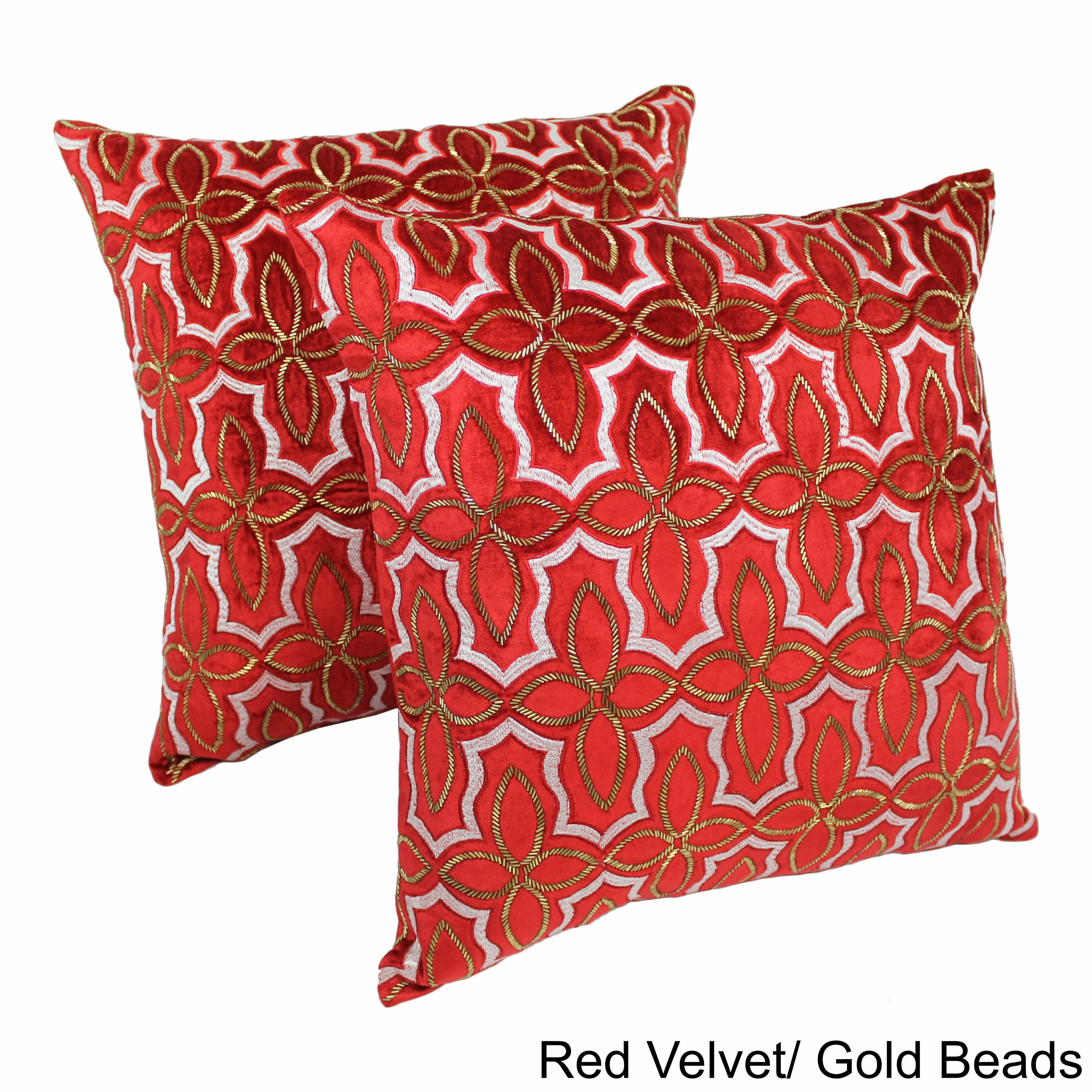 Blazing Needles 20 Inch Moroccan Patterned Beaded Velvet Throw Pillows (Set