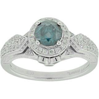 Suzy Levian 14k WhiteGold 1 1/3ct TDW Blue and White Diamond Ring