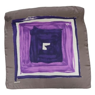 Halston Electric Purple Concentric Squares Scarf