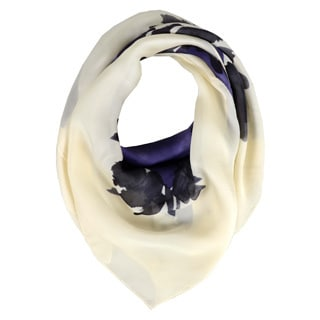 Halston Navy Watercolor Silk Scarf