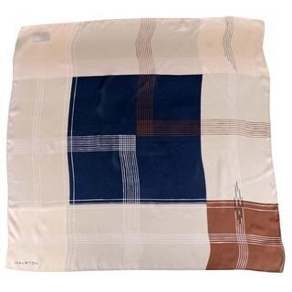 Halston Nutmeg Grid Pattern Silk Scarf