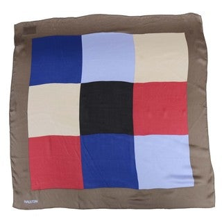 Halston 'Square Grid' Ash and Multicolored Silk Scarf