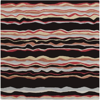 Hand-tufted Jalen Striped Wool Rug (9'9 Square)