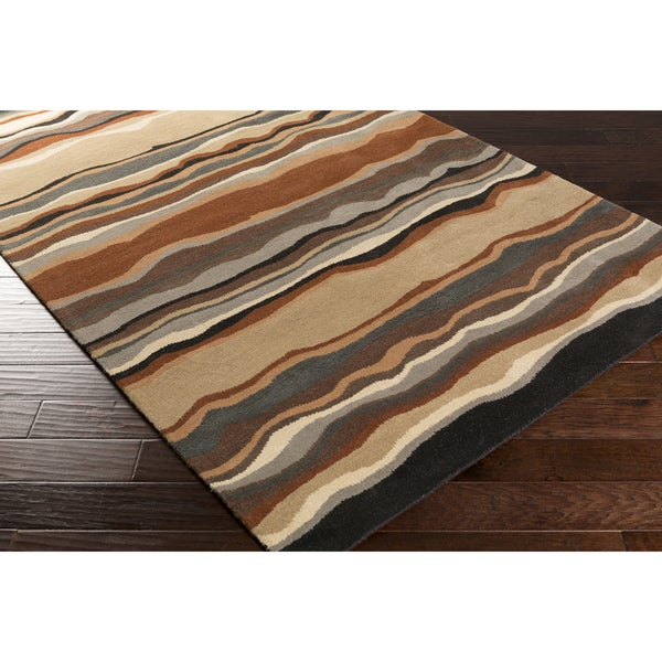 Hand-tufted Jalen Striped Wool Area Rug - 5' x 8'