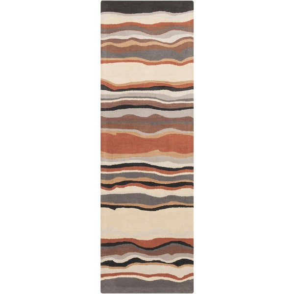 Hand-tufted Jalen Striped Wool Area Rug (2'6 x 8') - 3' x 12'