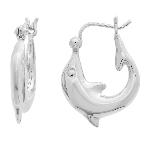 Sterling Silver Small Dolphin Hoop Earrings