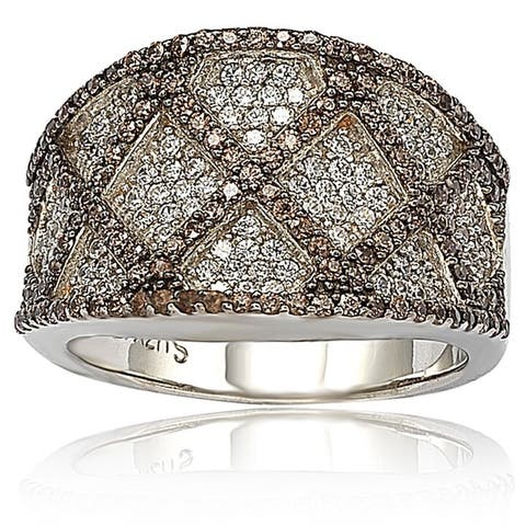 Suzy L. Brown and White Cubic Zirconia Sterling Silver Ring