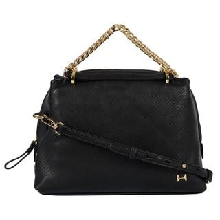 Halston Pebbled Leather Thick Double Chain Handbag