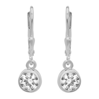 Sterling Essentials Silver Round Cubic Zirconia Small Drop Earrings (2 options available)