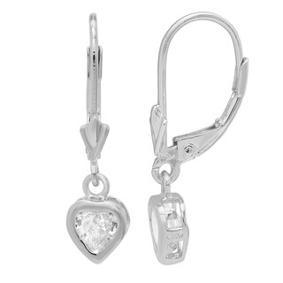 Sterling Essentials Silver Heart Cubic Zirconia Small Drop Earrings