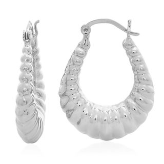 Sterling Essentials Silver Medium Ribbed Hoop Earrings