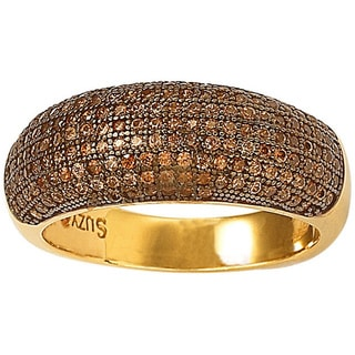 Suzy Levian Bridal Gold over Sterling Silver Chocolate Cubic Zirconia Anniversary Band