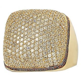 Suzy Levian Yellow Goldtone Sterling Silver Strawberry Chocolate and White Cubic Zirconia Ring|https://ak1.ostkcdn.com/images/products/9726757/P16900433.jpg?impolicy=medium