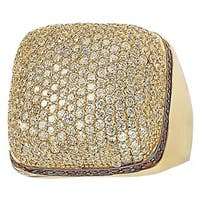 Suzy Levian Yellow Goldtone Sterling Silver Strawberry Chocolate and White Cubic Zirconia Ring