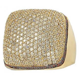 Suzy Levian Yellow Goldtone Sterling Silver Strawberry Chocolate and White Cubic Zirconia Ring (Option: Size 5)