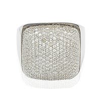Suzy Levian Sterling Silver Brown and White Cubic Zirconia Micro Pave Dome Ring