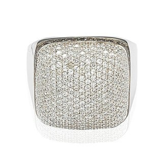 Suzy Levian Sterling Silver Brown and White Cubic Zirconia Micro Pave Dome Ring (More options available)