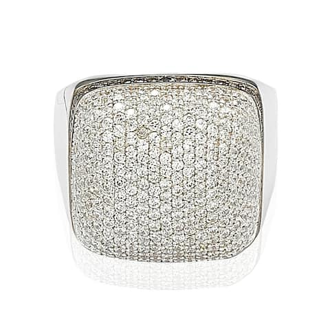 Suzy L. Sterling Silver Brown and White Cubic Zirconia Micro Pave Dome Ring