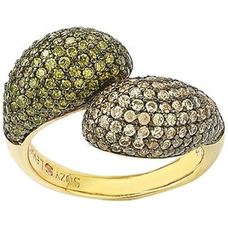 Suzy Levian Sterling Silver Brown and Green Cubic Zirconia Bypass Ring