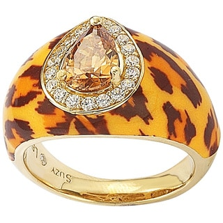 Suzy Levian Gold over Silver Brown Pear cut Cubic Zirconia Panther Animal Print Ring