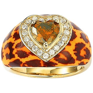 Suzy Levian Gold over Silver Brown Cubic Zirconia Animal Print Ring|https://ak1.ostkcdn.com/images/products/9726777/P16900439.jpg?impolicy=medium