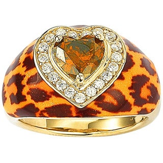 Suzy Levian Gold over Silver Brown Cubic Zirconia Animal Print Ring