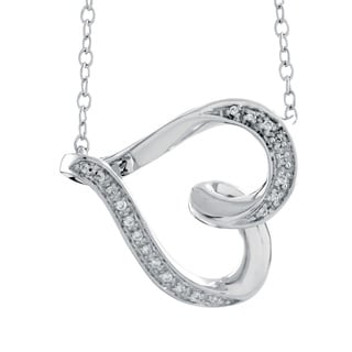 Bridal Symphony Sterling Silver 1/10ct Diamond Accent Heart Pendant Necklace (I-J, I2-I3)