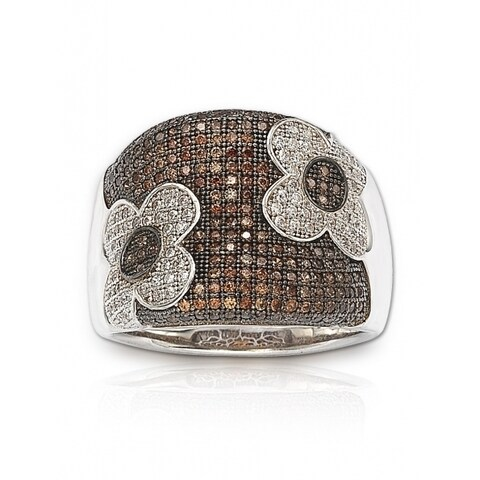 Suzy Levian Sterling Silver Brown Cubic Zirconia Micro Pave Floral Ring