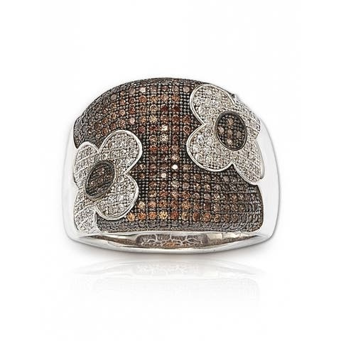 Suzy L. Sterling Silver Brown Cubic Zirconia Micro Pave Floral Ring