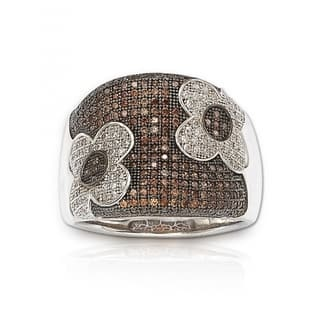 Suzy Levian Sterling Silver Brown Cubic Zirconia Micro Pave Floral Ring|https://ak1.ostkcdn.com/images/products/9726786/P16900462.jpg?impolicy=medium