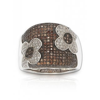 Suzy Levian Sterling Silver Brown Cubic Zirconia Micro Pave Floral Ring (More options available)