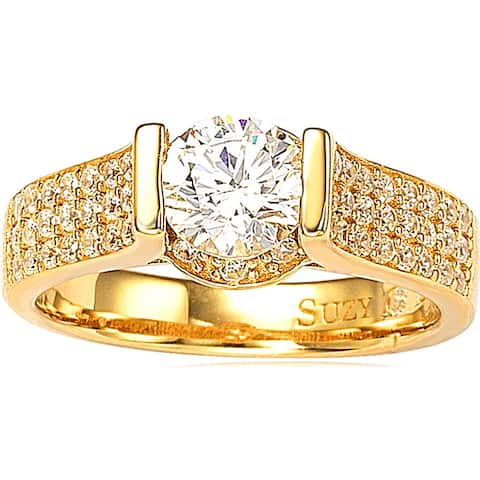 Suzy L. Bridal 14k Gold over Silver Cubic Zirconia Ring