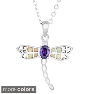 La Preciosa Sterling Silver White Opal and CZ Dragonfly Pendant