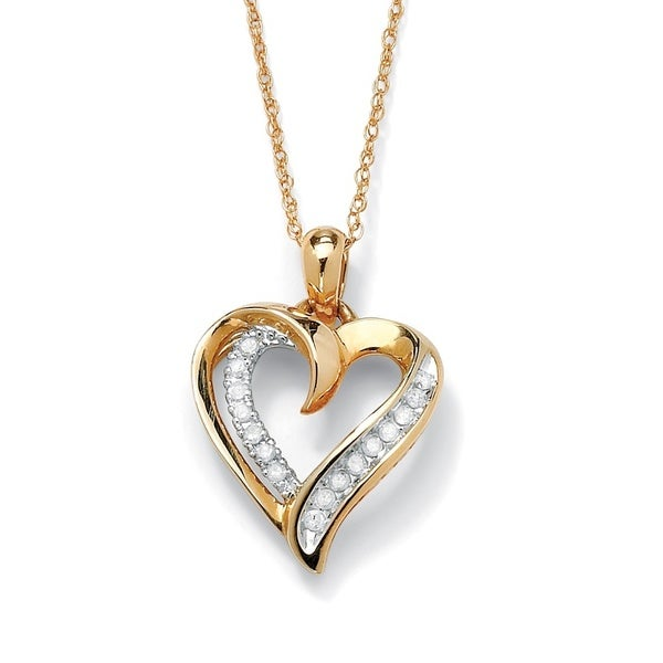 1 10 Tcw Round Diamond Heart Pendant Necklace In 10k Gold