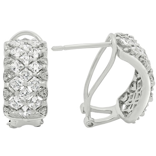 Gioelli Sterling Silver Cubic Zirconia Stylish Omega Clasp Earrings