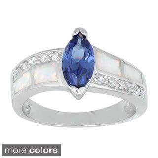 La Preciosa Sterling Silver Created White Opal and CZ Ring