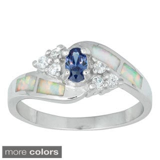 La Preciosa Sterling Silver White Opal with Oval and Cluster CZ Ring