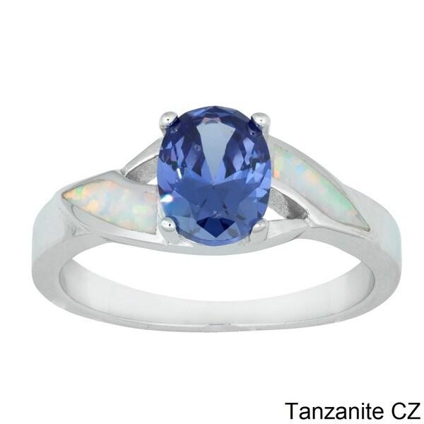La Preciosa Sterling Silver Created White Opal and Oval CZ Ring