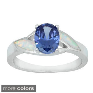 La Preciosa Sterling Silver Created White Opal and Oval CZ Ring