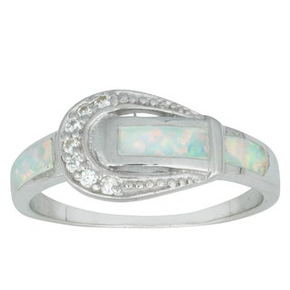 La Preciosa Sterling Silver Created White Opal and Cubic Zirconia Buckle Ring