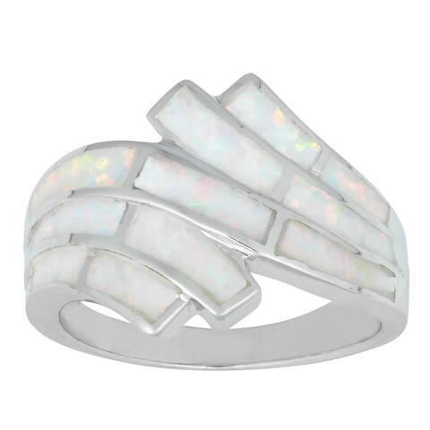 La Preciosa Sterling Silver Created White Opal Ring